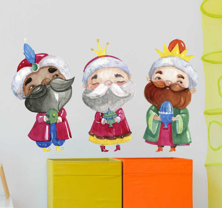 TenStickers. Three Magi Drawing Christmas Wall Sticker. Christmas stickers with the drawing of Melchior, Gaspar and Baltasar, the three wise men from the East! Perfect for Christmas decation! Easy to apply.