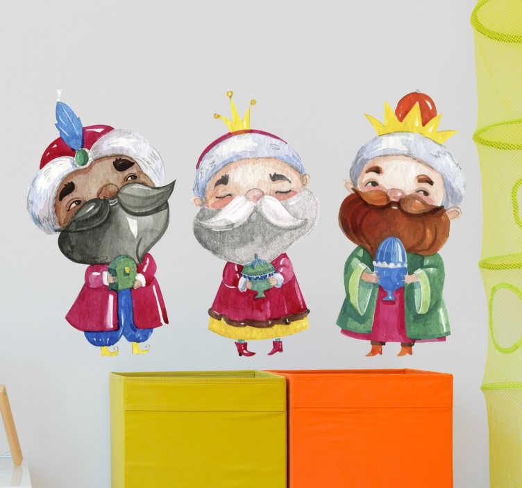 TenVinilo. Vinilo infantil dibujo Reyes Magos. Pegatinas Navidad con el dibujo de Melchor, Gaspar y Baltasar, los tres reyes magos de Oriente cargado con regalos para el niño Jesús.