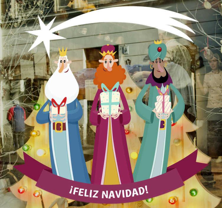 TenVinilo. Vinilo Navidad Reyes Magos. Vinilos decorativos Navidad con el dibujo de Melchor, Gaspar y Baltasar, los tres reyes magos guiados por el cometa llevando regalos al niño Jesús.