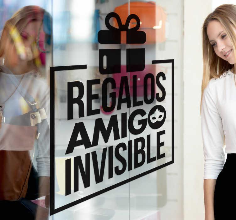 TenVinilo. Vinilos para escaparate amigo invisible. Vinilos para escaparates con los que promocionar que en tu negocio ofreces productos y regalos ideales para obsequiar en un amigo invisible.