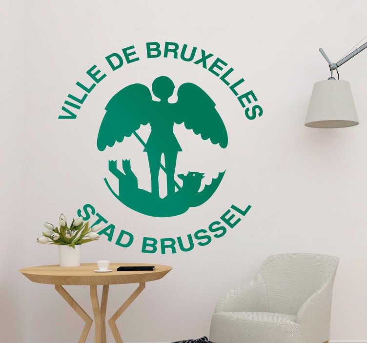 TenStickers. Sticker tampon bruxelles. Autocollant mural réalisé spécialement pour les bruxellois. Il représente un tampon d'un des symboles de la Belgique.