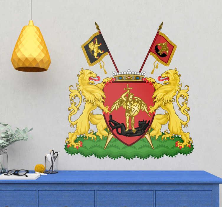 TenStickers. Sticker wapen van Brussel. Het wapen van Brussel als decoratieve sticker. Decoreer uw raam of muur met deze prachtige decoratie, gemaakt van topkwaliteit vinyl!