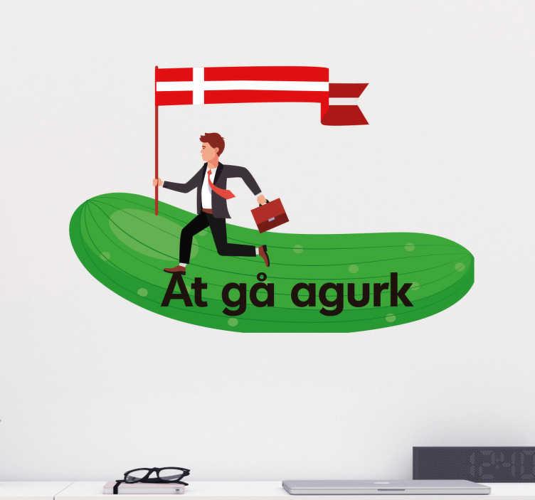 """TenStickers. At gå agurk klistermærke. At gå agurk klistermærke. Sjovt dansk ordsprog som dekoration til hjemmet. """"At gå i agurk"""" er den danske version af """"go bananas""""."""