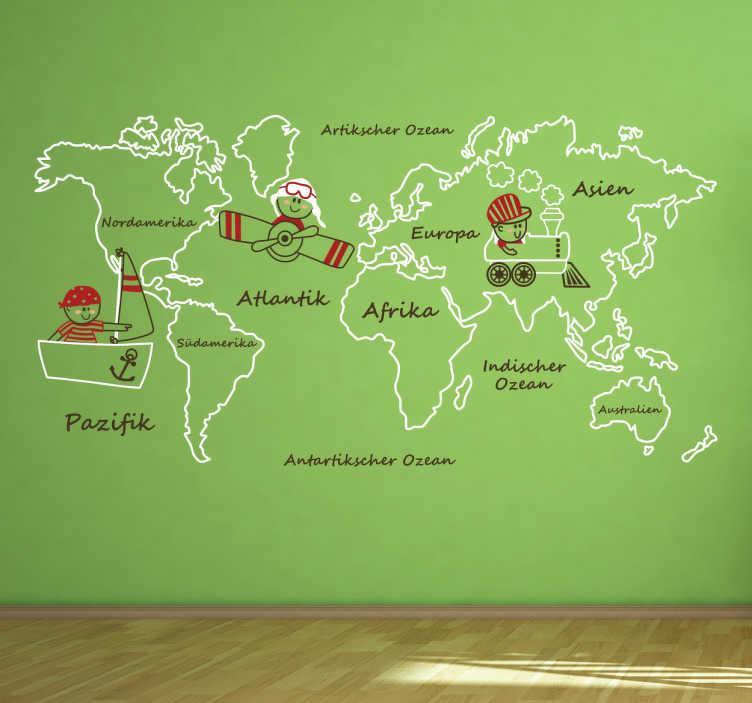 TenStickers. Wandtattoo Kinder Weltkarte. Süßes Wandtattoo mit einer Weltkarte für kleine Entdecker. Perfekt um das Kinderzimmer zu dekorieren.