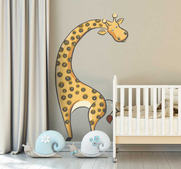 TenStickers. Kids Giraffe Wall Sticker. A fun and original illustration of a monochrome  giraffe. A brilliant giraffe wall sticker for decorating the nursery or play areas for children.