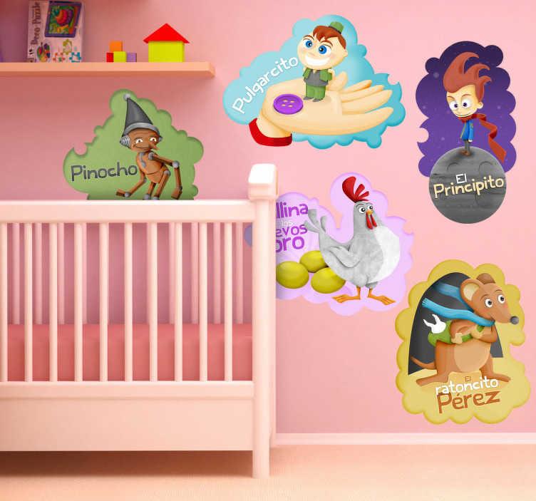 TenVinilo. Stickers infantiles cuentos clásicos. Colección de pegatinas con cuentos clásicos como Pulgarcito, el Principito o Pinocho entre tantos otros.