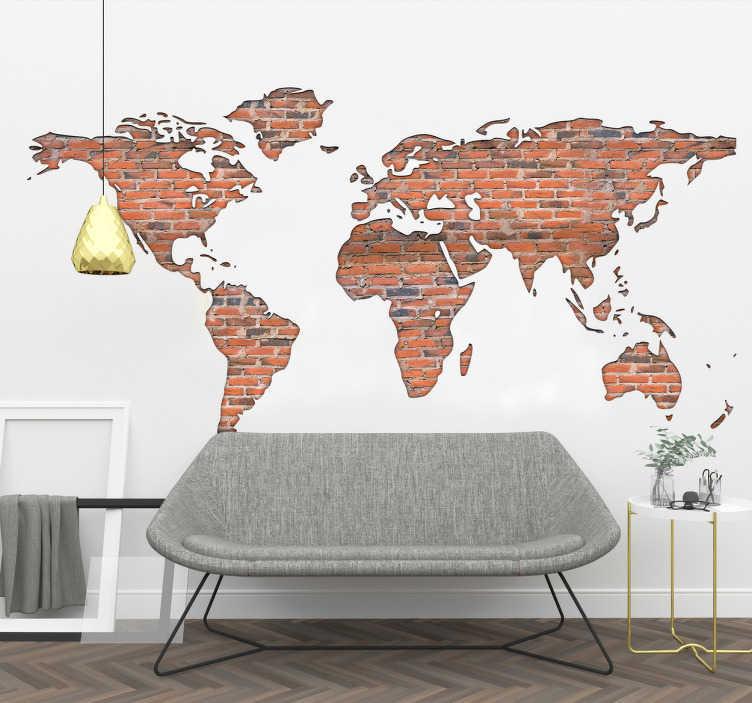 TenStickers. Wandtattoo Backstein Weltkarte. Cooles Wandtattoo mit einer Weltkarte mit Backsteinen die einen tollen visuellen Effekt erzeugen. Holen Sie sich den coolen Aufkleber ins Wohnzimmer.