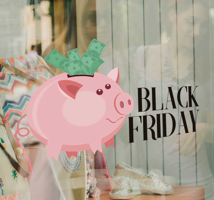 TenStickers. Adesivo black friday maialino salvadanaio. Vetrofania per attivitá commerciali per sponsorizzare il Black Friday