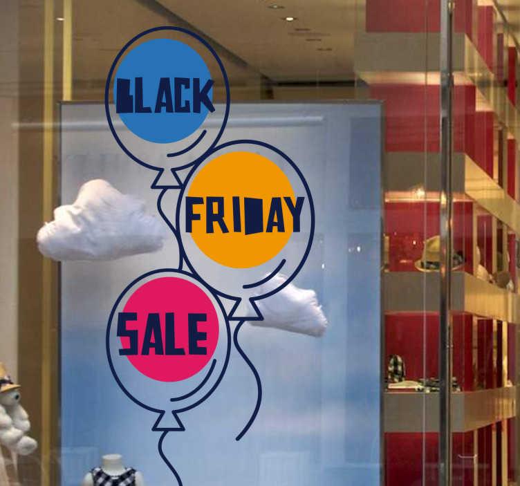 TenStickers. Aufkleber Black Friday Luftballons. Ein toller Schaufensteraufkleber mit der Aufschrift Black Friday Sale und Luftballons, der Ihre Rabatte kenntlich macht. Riesige Auswahl