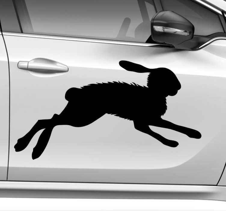 TenVinilo. Pegatina para coches silueta liebre. Vinilos decorativos para corredores cuyo animal totémico sea una veloz liebre, ideal para decorar y personalizar tu coche.