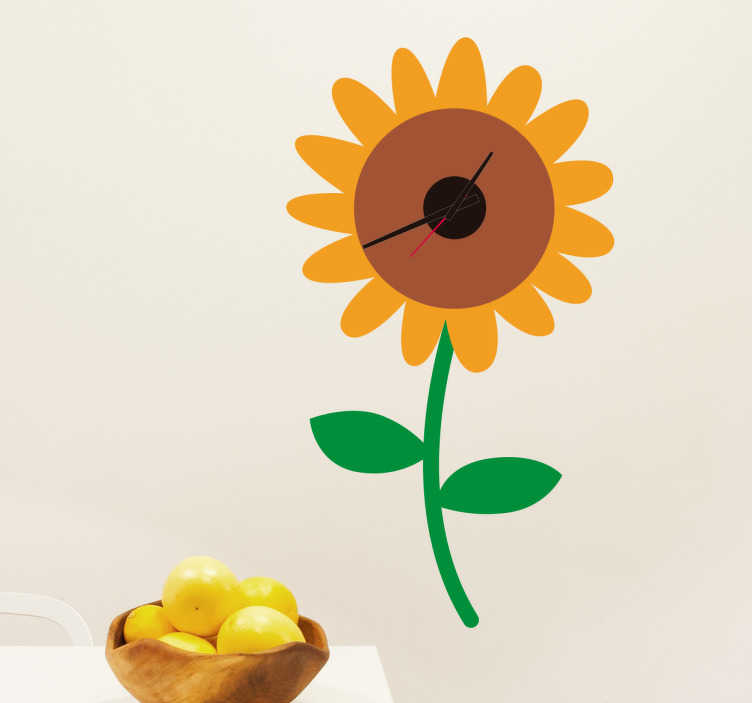 TenStickers. Naklejka ścienna słonecznik z zegarem. Naklejka ścienna zegar w kształcie słonecznika Świetna dekoracja do salonu czy kuchni, nada tym pomieszczeniom więcej koloru i napewno je ożywi. Naklejka wykonana z winylu.
