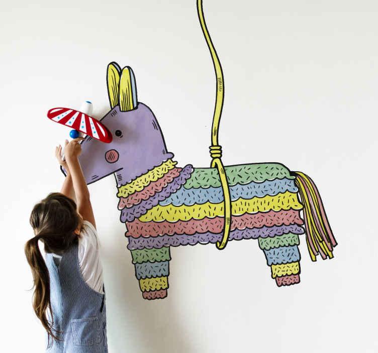 TenVinilo. Vinilo decorativo piñata mexicana. Vinilos decorativos pared con el dibujo de una típica piñata con forma de burro o mula, una forma divertida.