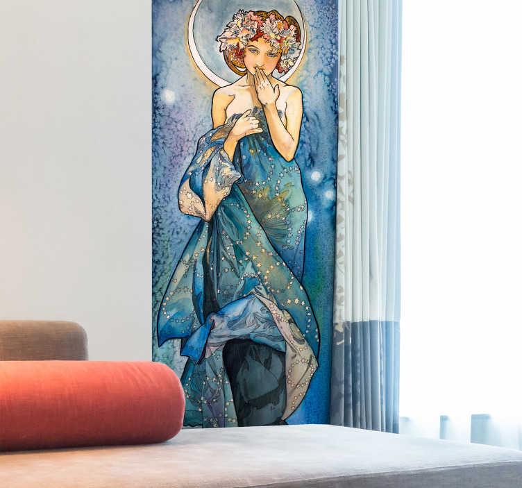 TenStickers. Adesivo quadro Alfons Mucha luna. Bellissimo sticker decorativo murale in una rappresentazione della luna del pittore Alfons Mucha