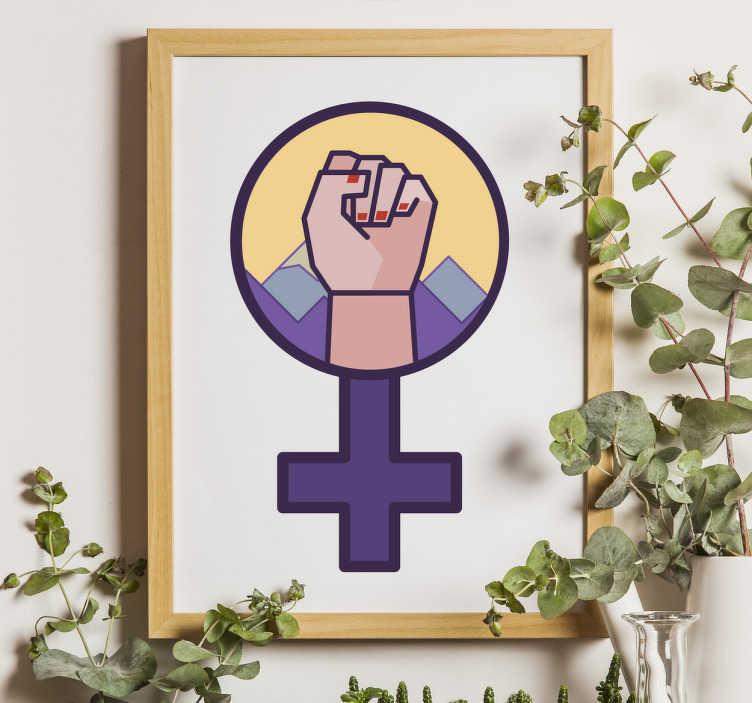 TenStickers. Autocollant lutte féministe. Sticker lutte féministe en forme du symbole du sexe féminin. Idéal pour décorer votre salon ou votre chambre.