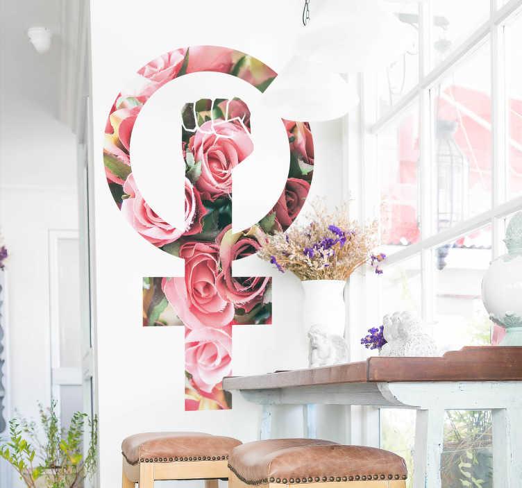 TenStickers. Sticker symbool feminisme bloemen. Een sticker met het Venussymbool en een opgeheven vuist in een bloemenmotief als een stijlvol symbool van emancipatie.