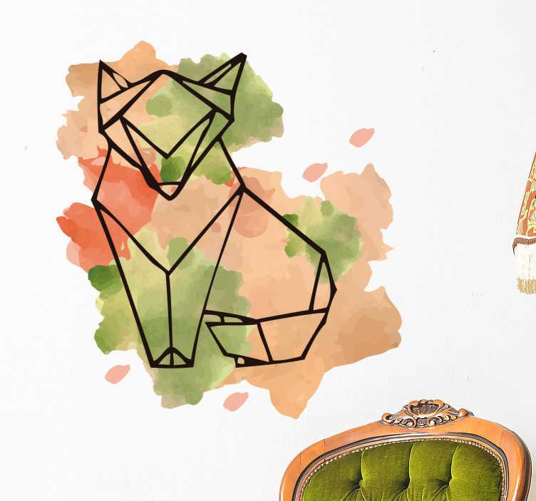 TenStickers. Wandtattoo geometrische Fuchs. Cooles Wandtattoo mit einem geometrischen Fuchs und Farbklecksen im Aquarell Stil im Hintergrund. Schöne Dekorationsidee für das Wohnzimmer.