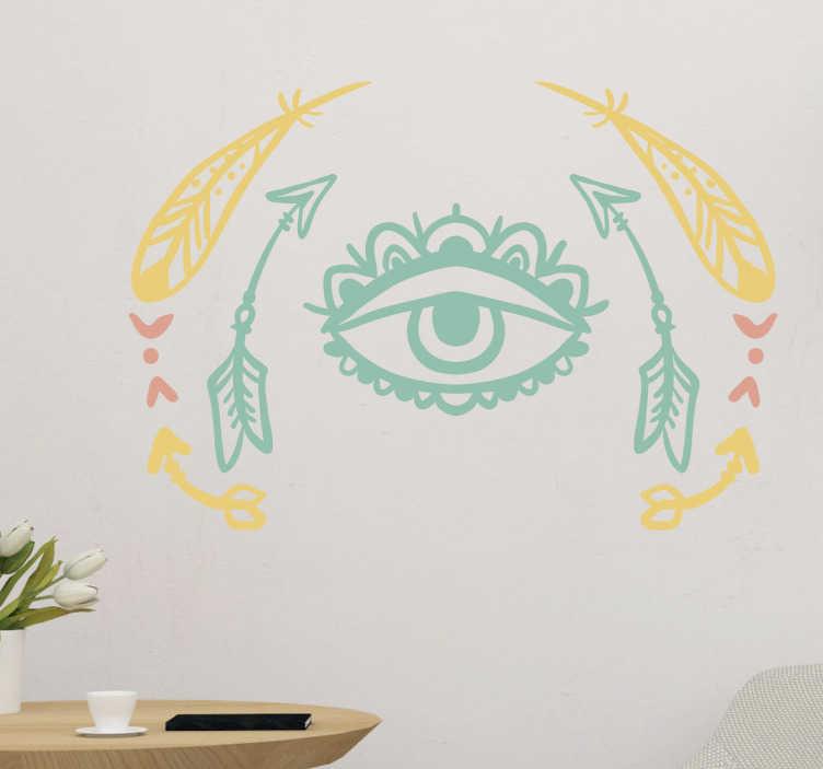 TenVinilo. Vinilo decorativo ojo tribal. Murales y vinilos originales de inspiración amerindia, con la representación de un ojo divino enmarcado por flechas y plumas.