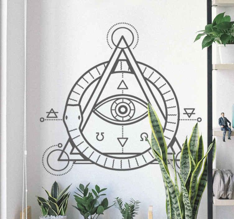 TenStickers. Muursticker symbool oog. Masonic-geïnspireerde decoratieve vinyl met een moderne representatie van het oog van God, ingelijst in een piramide.