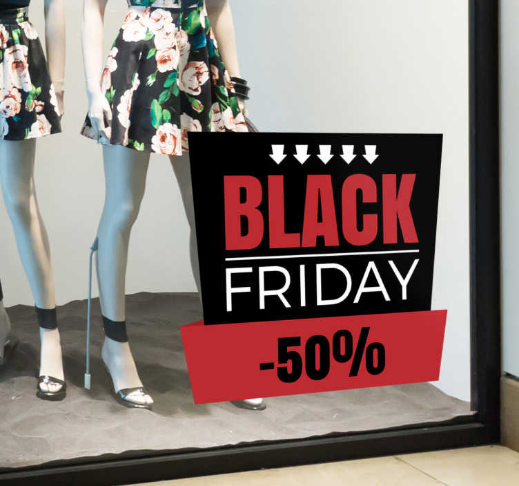 TenStickers. Raamsticker Black Friday aanpasbaar. Etalage winkel sticker die op de juiste manier de verkoop kan promoten voor de volgende Black Friday, een campagne die steeds populairder wordt.