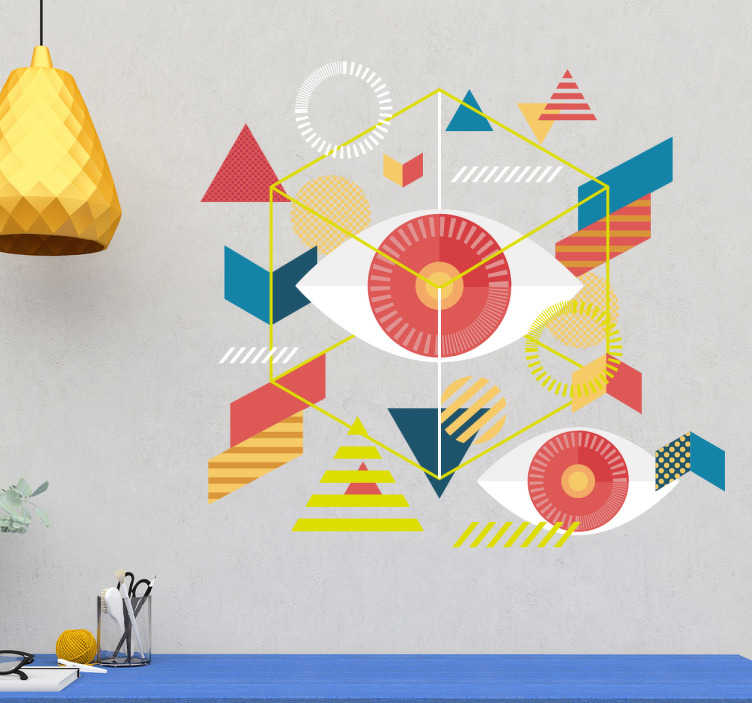 TenStickers. Wandtattoo geometrische Augen. Interessantes Wandtattoo mit vielen bunten Farben und geometrischen Formen. Dekorieren Sie Ihr Wohnzimmer auf mit ein wenig abstraker Kunst.