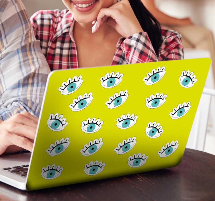 TenStickers. Cover adesiva pc occhi. Skin protettiva per computer colorata verde con occhi azzurri