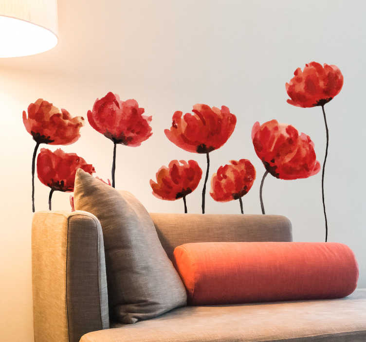 TenStickers. Adesivo decorativo papaveri acquarelli. Alti papaveriadesivirosso fuoco effetto acquarello doneranno calore ed eleganza al tuo soggiorno o alla tua cucina