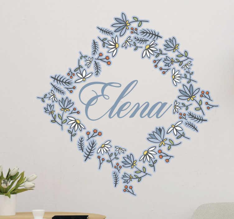 TenVinilo. Vinilo personalizable marco flores. Pegatinas personalizadas nombre de inspiración floral, con un diseño colorido y elegante, ideal para cualquier estancia.