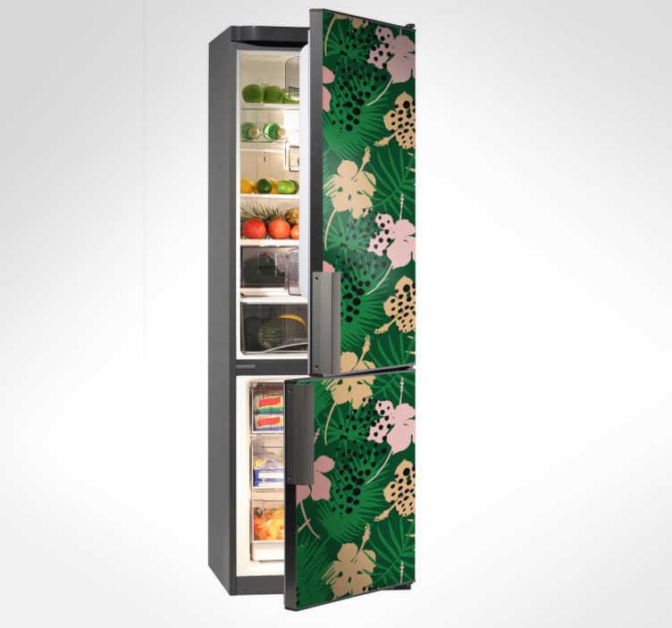 TenStickers. Adesivo da frigo tropicale. Adesivo per frigorifero a trama tropicale floreale