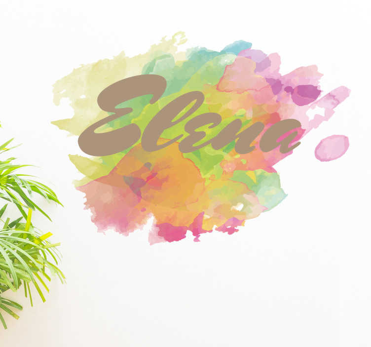 TenStickers. Adesivo acquarello nome personalizzabile. Adesivo murale personalizzabile con il nome che preferisci in un bagno di acquarelli multicolore