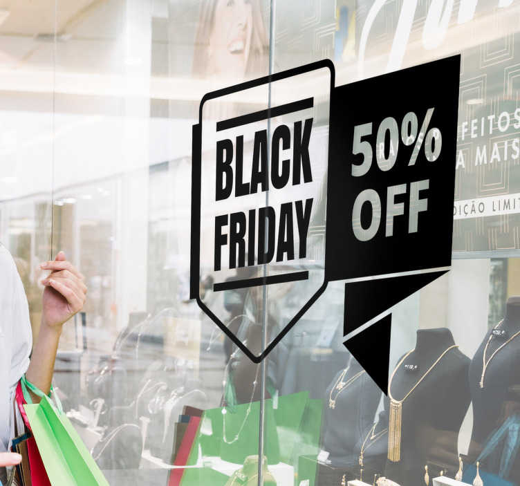 TenStickers. Raamsticker korting Black Friday. Etalage sticker voor Black Friday, voor de bedrijven die willen profiteren van de populairder wordende dag. Raamsticker om klanten aan te trekken.