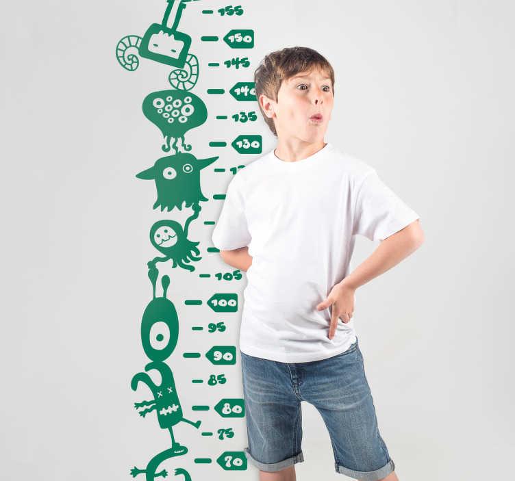 TenStickers. Messlatte Monster. Coole Messlatte für Kinder mit vielen kleinen Monstern. Schöne Dekorationsidee für das Kinderzimmer.