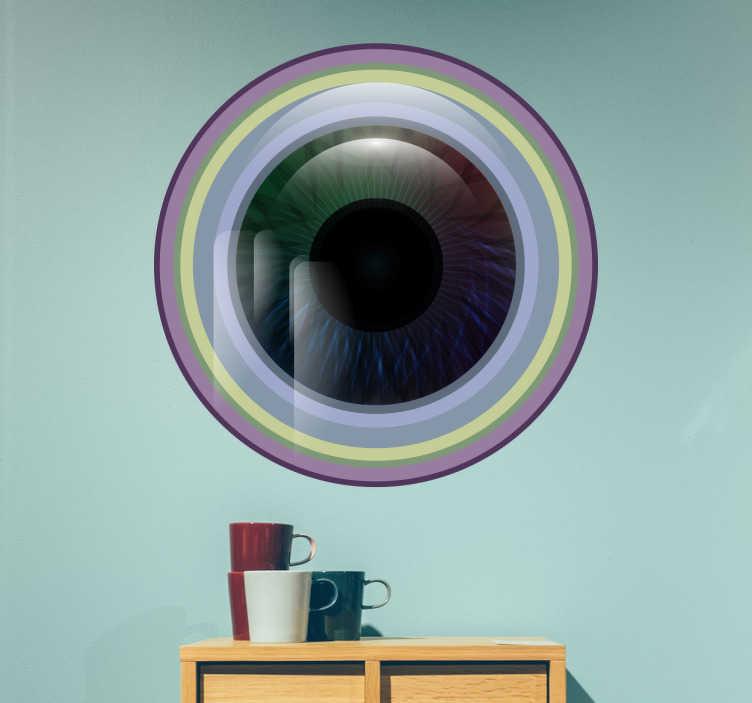 TenVinilo. Vinilo ojo colores. Vinilo decorativo de aspecto moderno, con una representación del iris de un ojo enmarcado en una lente.