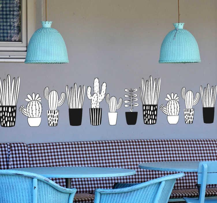 TenVinilo. Vinilo cenefa ilustraciones plantas. Cenefas pared adhesivas con dibujo de distintas plantas y cacturs en sus macetas, en blanco y negro.