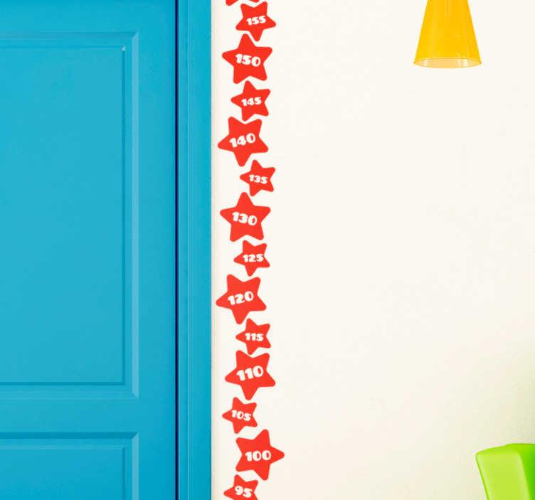 TenStickers. Muursticker groeimeter sterren. Deze met sterren bezaaide muursticker helpt u de groei van uw kinderen bij te houden en dient tegelijkertijd als prachtige wanddecoratie in uw huis.