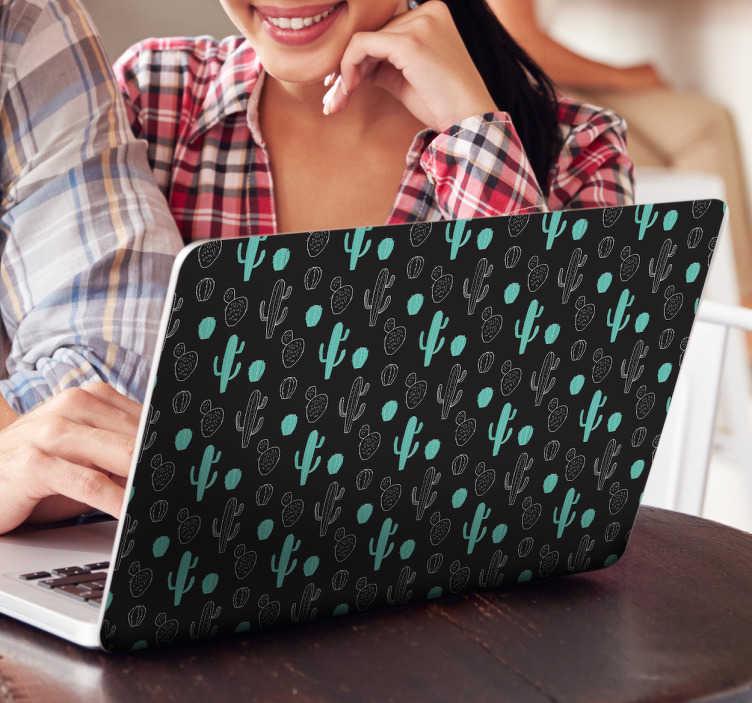 TenStickers. Computer klistermærke kaktus. Dekorativt kaktus sticker til laptops. Dekorer bagsiden af din computer med dette klistermærke med motiver af kaktusser.