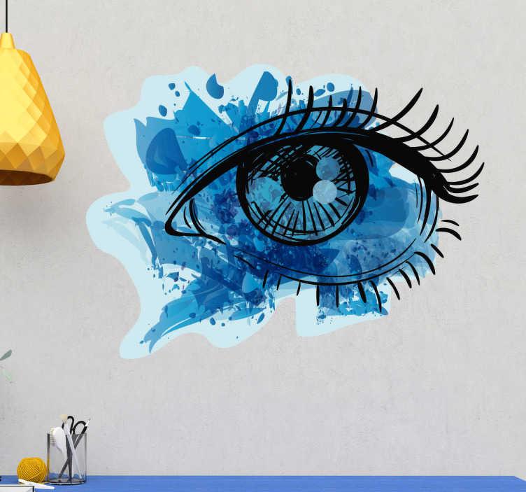TenStickers. Sticker oog spatten. Een geweldige decoratie sticker met de afbeelding van een vrouwenoog getekend op een blauwe textuur die spatten van verf voorstellen.