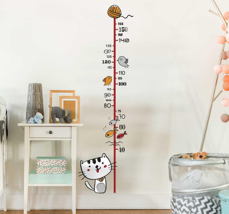 TenStickers. Muursticker groeimeter kat. Een schattige muursticker groeimeter met een kat, vogeltjes en andere leuke figuurtjes. Houd de groei van uw kinderen bij met decoratie.
