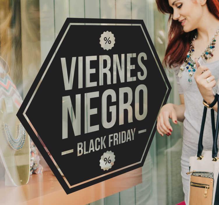 TenVinilo. Pegatina promo tienda viernes negro. Vinilos para negocios que deseen promocionar la próxima campaña de Black Friday con un diseño llamativo y original.