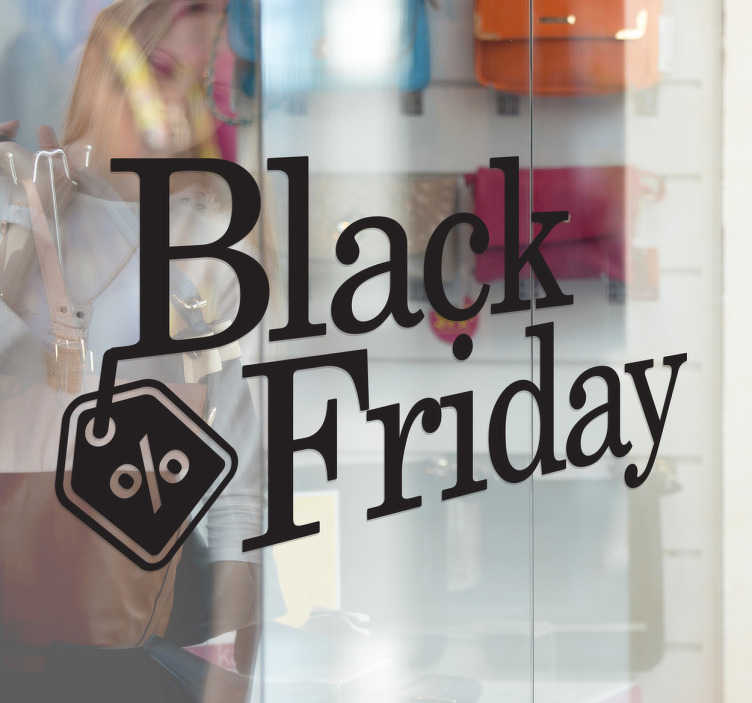 TenStickers. 검은 금요일 프로모션 판매 스티커. 검은 금요일을 말하는 간단하지만 아름다운 상점 앞 창 스티커, 일년 중 가장 바쁜 날 중 하나에서 할인을 알리는 좋은 방법입니다.