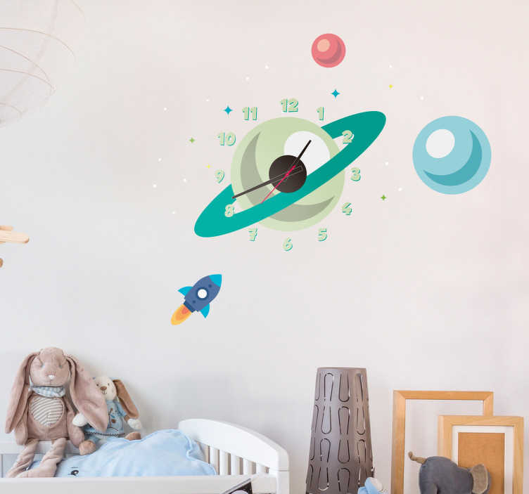 TenVinilo. Vinilo decorativo reloj estelar. Vinilo reloj formado por unos planetas y estrellas junto con un cohete espacial que se dirige hacia ellos.