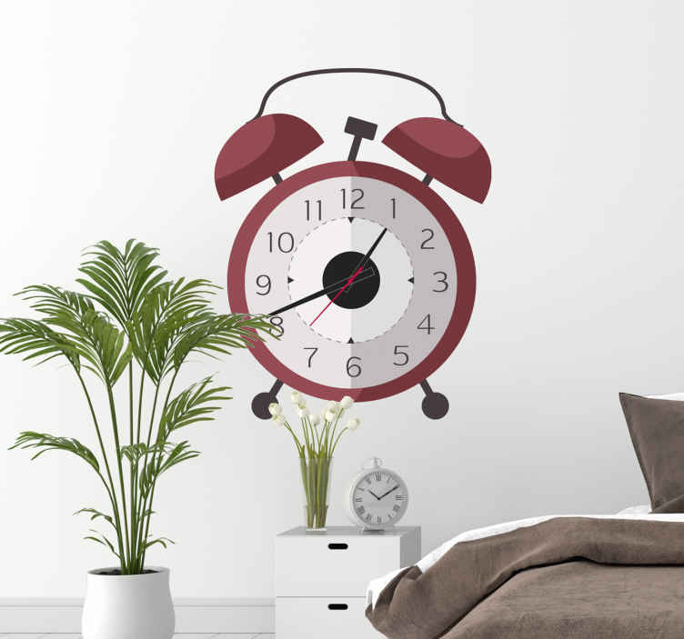 TenStickers. Klok sticker klassieke wekker. Decoratieve wandklok met een werkend klokmechanisme en daarachter een fraaie muursticker van een klassieke wekker. Creëer een leuke stijl.