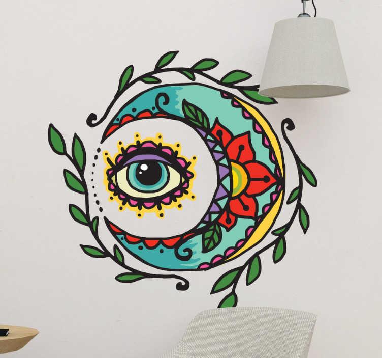 """TenStickers. Adesivo tattoo luna e occhio. Decorazione murale effetto tattoo di una luna """"ricamata"""" che abbraccia un occhio mistico"""