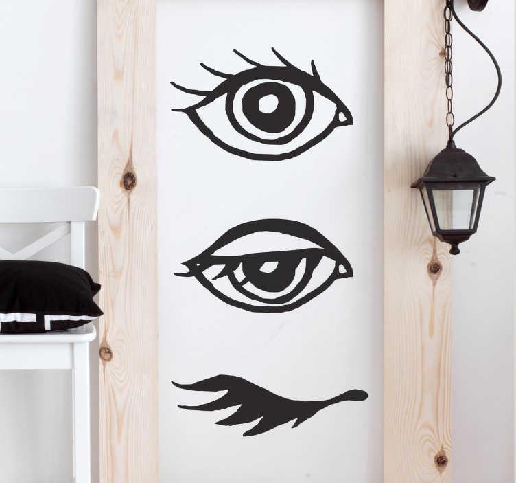 TenStickers. Deursticker sluitend oog. Artistieke deursticker met ogen die open, halfopen en gesloten zijn. Ook ideaal om een mystieke touch te geven aan uw muren.
