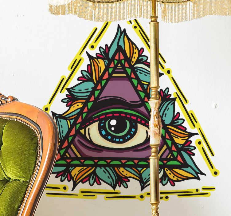TenStickers. Occhio di dio adesivo stile tatuaggio. Triangolo adesivo stile tattoo incornicia un occhio divino