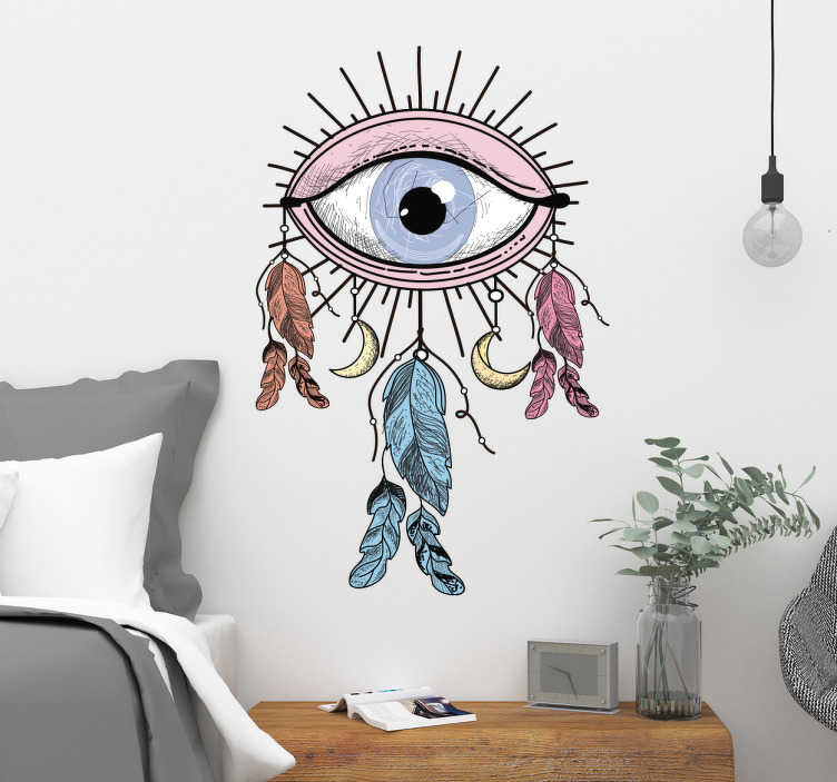 TenStickers. Muursticker oog dromenvanger. Decoratieve vinyl-dromenvanger van Indiaanse inspiratie, met de tekening van een goddelijk oog en veren die aan hun wimpers hangen.