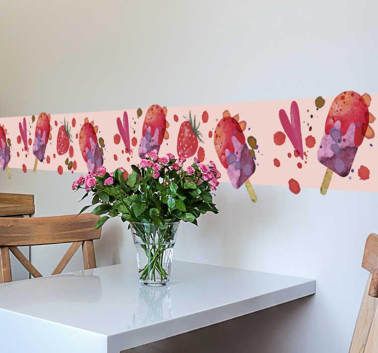 Tenstickers. Koristereunus akvarellikuviot. Koristereunus akvarellikuviot. Hauska ja värikäs koristereunus, jossa on kuvioina jäätelöpuikkoja, mansikoita, sydämiä ja splatterkuvioita.