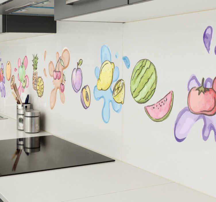 TenStickers. Muursticker sierrand fruit aquarel. De muursticker voor de keuken met verschillende vruchten zorgt voor een zomers gevoel bij u thuis en is een leuk decoratie-idee voor de keuken.