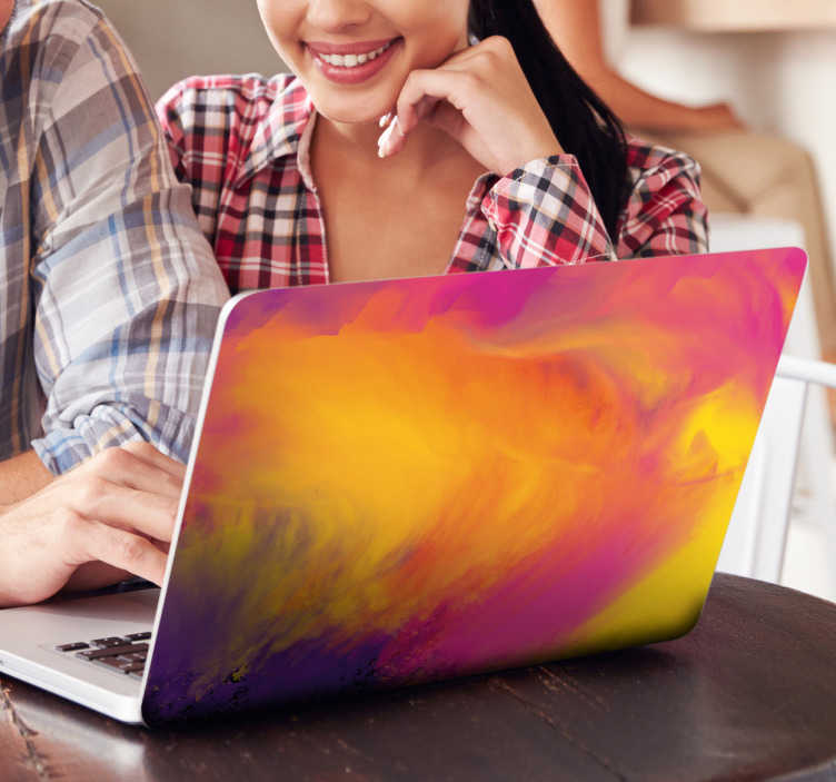Tenstickers. Abstrakti värikäs läppäritarra. Abstrakti värikäs läppäritarra. Kaunis monivärinen tarra tietokoneen kanteen, jolla saat koneestasi persoonallisen ja tyylikkään helposti.