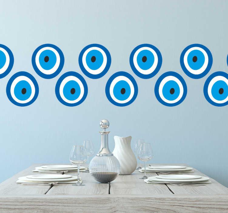 TenVinilo. Cenefa pared adhesiva iris azul. Murales y vinilos disponibles en la medida que requieras con dos filas de figuras geométricas circulares en tonos azules,