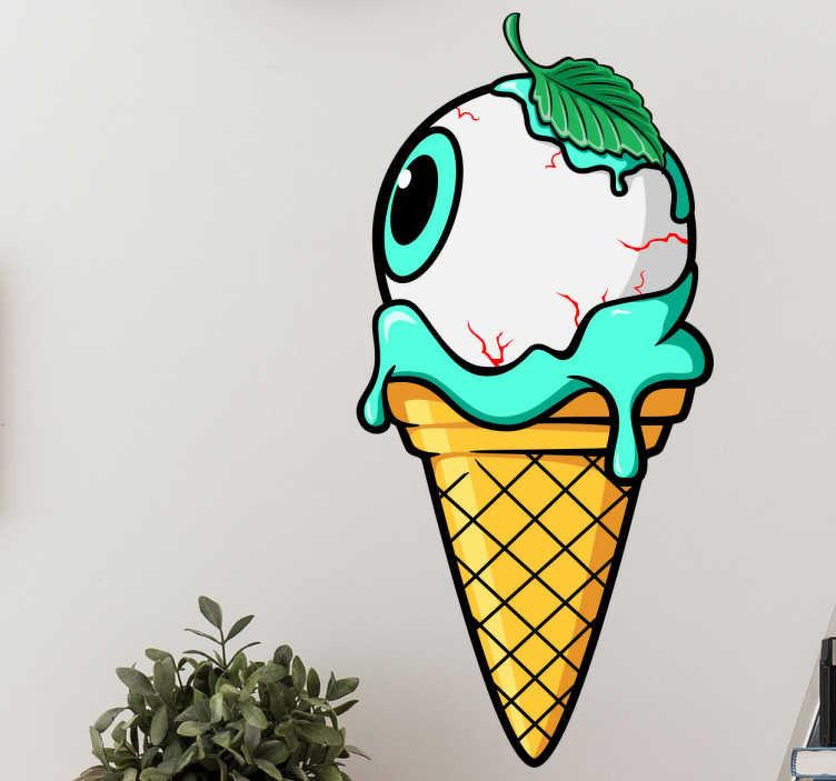 TenStickers. Wandtattoo Auge in Eiswaffel. Witziges Wandtattoo mit einem Augapfel in einer Eiswaffel. Eignet sich perfekt für eine ungewähnliche Halloween Dekoration oder andere Gruselpartys.